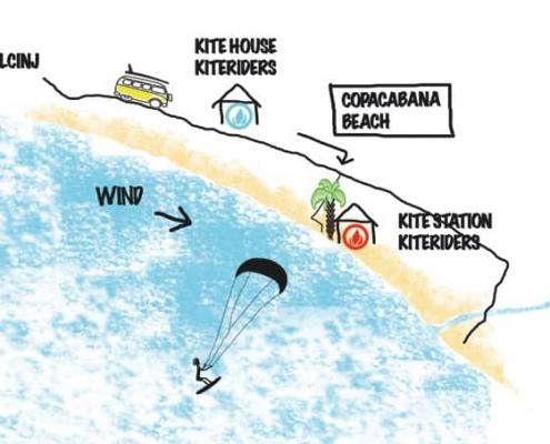 lageplan, kitespot montenegro. kiteriders kitehouse, kiteriders kitecenter, ulcinj, montenegro